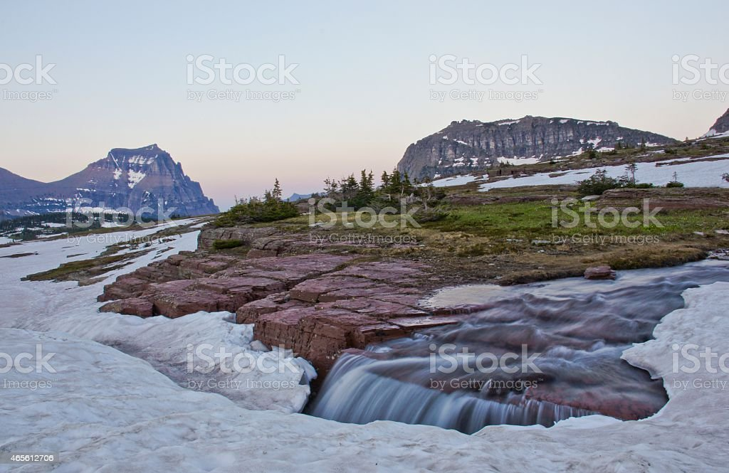 Sunset at Three Rivers in Glacier National Park stock photo