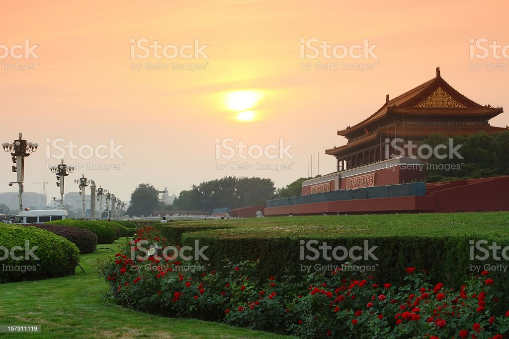 Sunset at Tiananmen in Beijing, China stock photo