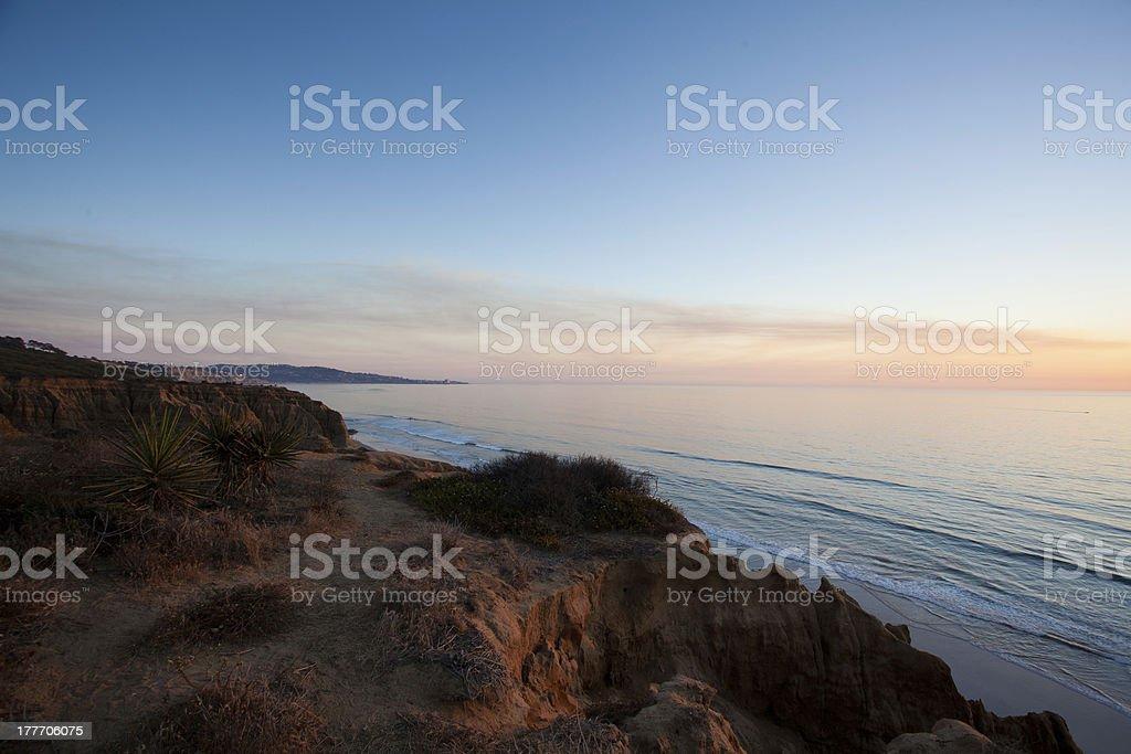 Sunset at Torrey Pinr Beach stock photo