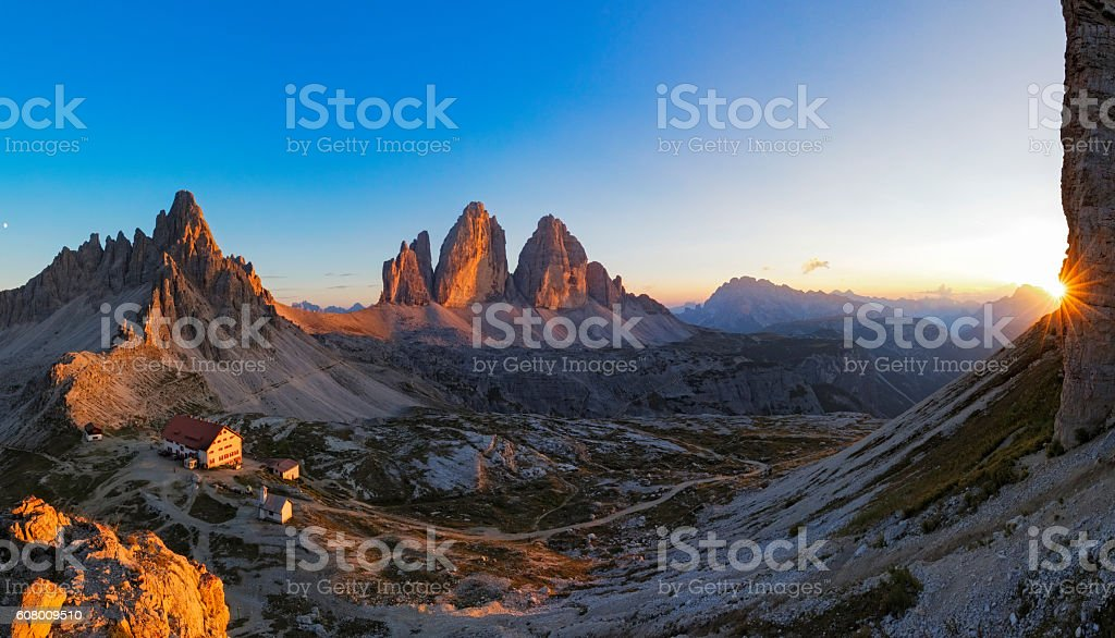 Sunset at Tre Cime, Dreizinnenhütte - Rifugio Antonio Locatelli, Alps stock photo