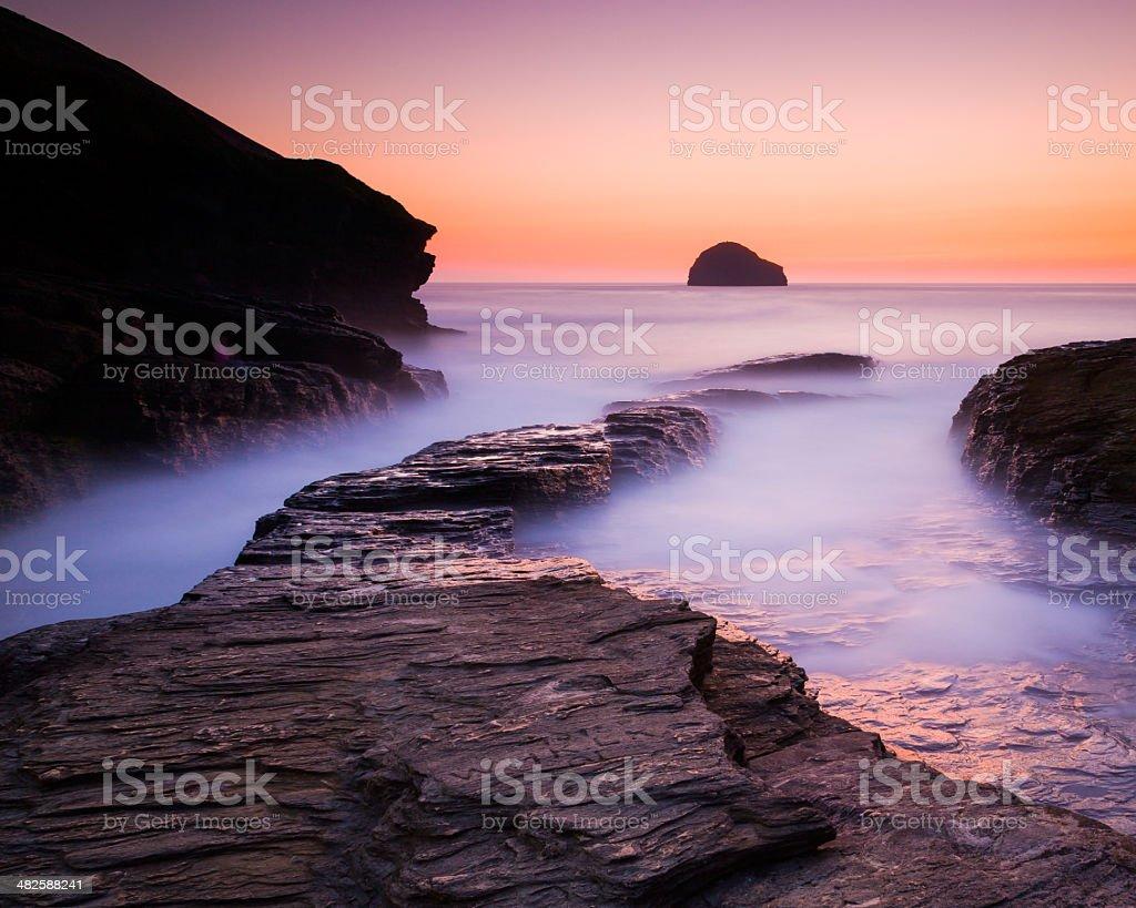 Sunset at Trebarwith Strand Cornwall stock photo