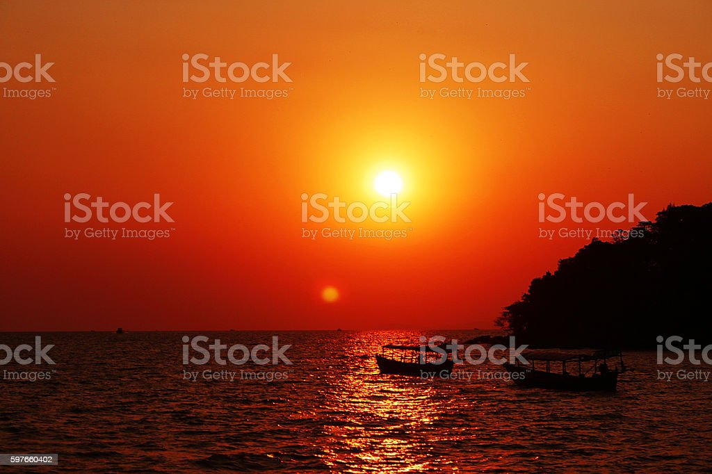 Sunset at tropical beach in Cambodia stock photo