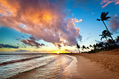 Sunset at Tropical Poipu Beach of Kauai, Hawaii