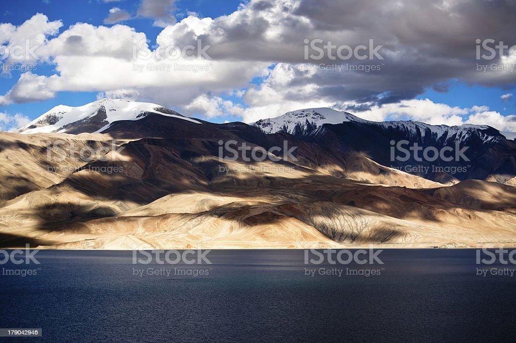 Sunset at Tso Moriri Lake. Himalaya mountains royalty-free stock photo