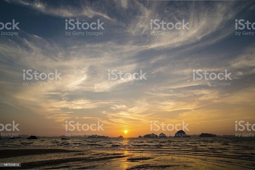Sunset at Tub Kaek beach. stock photo