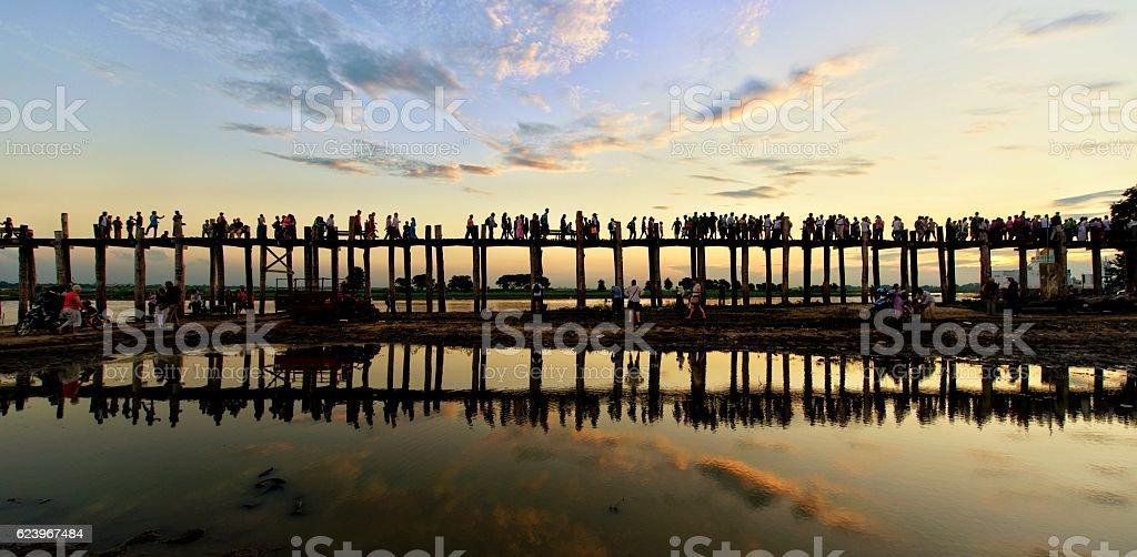 Sunset at U Bein Bridge stock photo