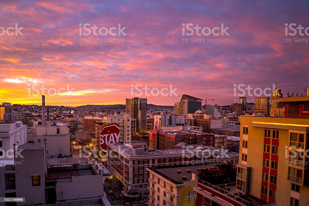 Sunset at Union Square City Buildings, San Francisco stock photo