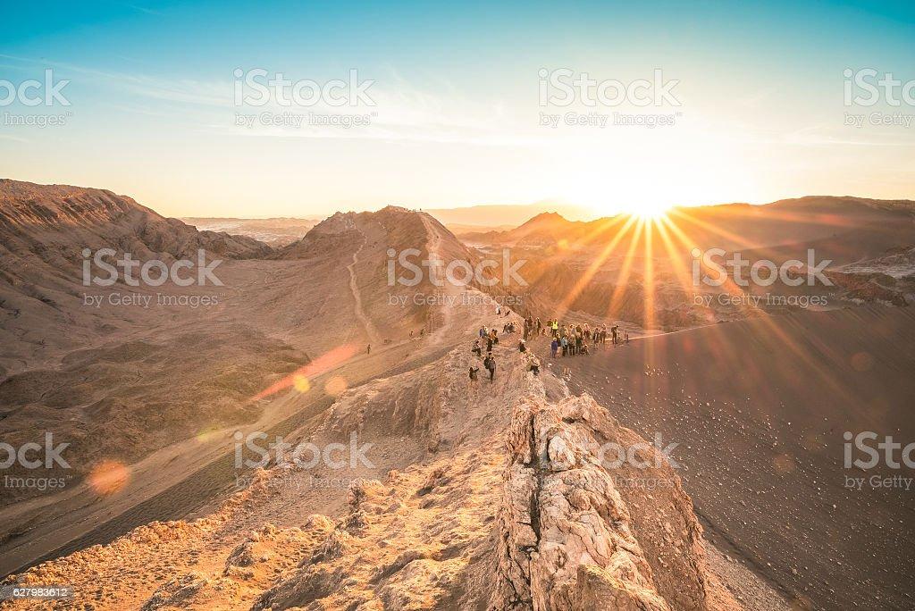 Sunset at Valle de la Luna - Atacama desert Chile stock photo