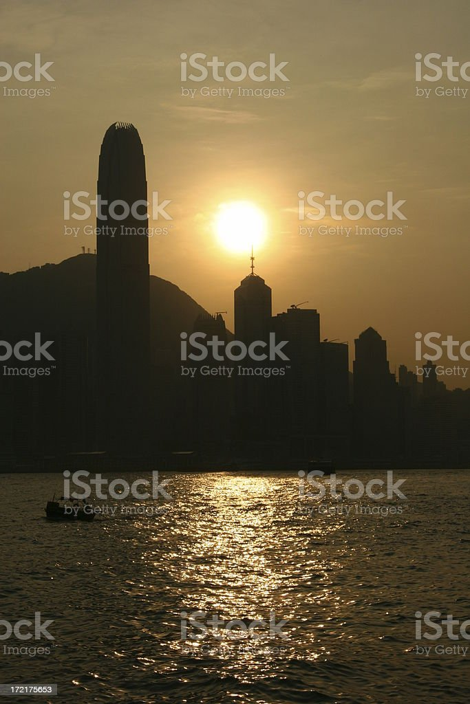 Sunset at Victoria Harbour royalty-free stock photo