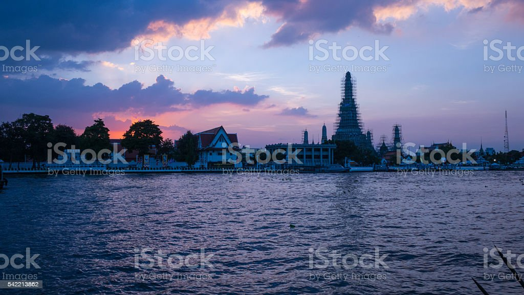 sunset at Wat Arun stock photo
