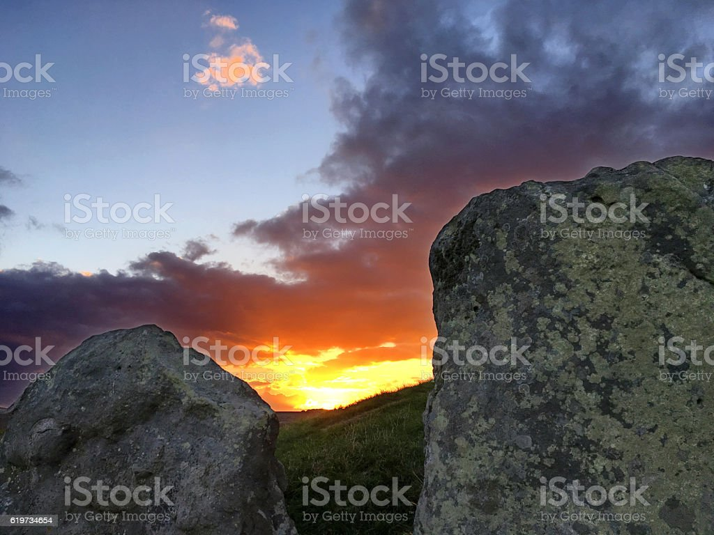 sunset at West Kennett Long Barrow stone age grave, England stock photo