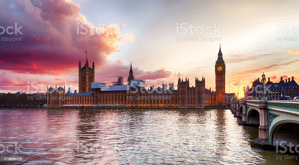 Sunset at Westminster Bridge stock photo