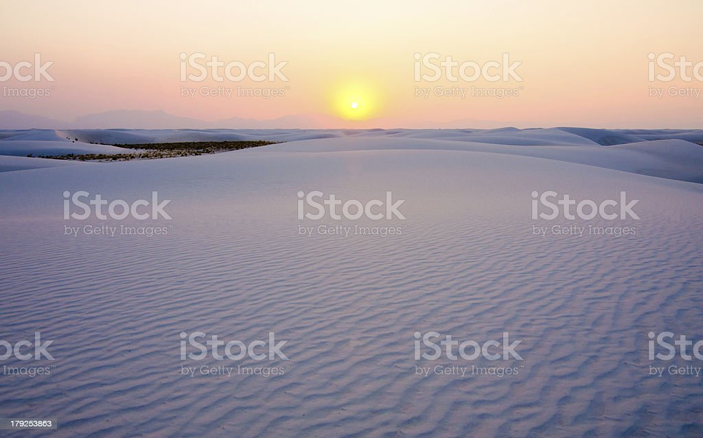 Sunset at White Sands, New Mexico stock photo