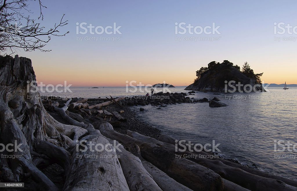 sunset at whytecliff park royalty-free stock photo