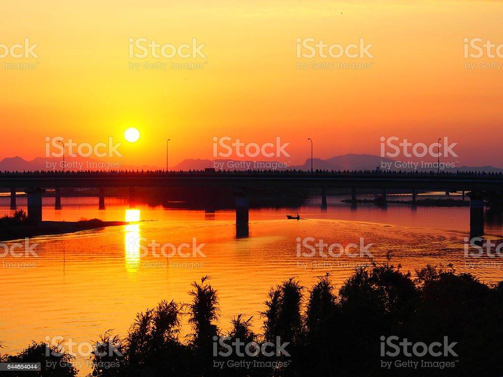 sunset at yatsushiro stock photo