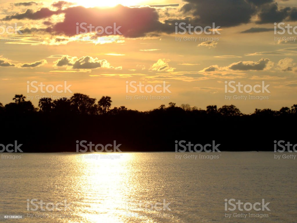 sunset atmosphere over the zambesi river stock photo