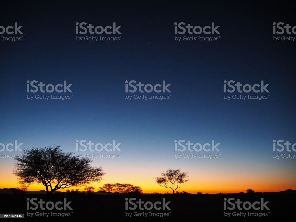 Sunset atmosphere with star in Solitaire stock photo