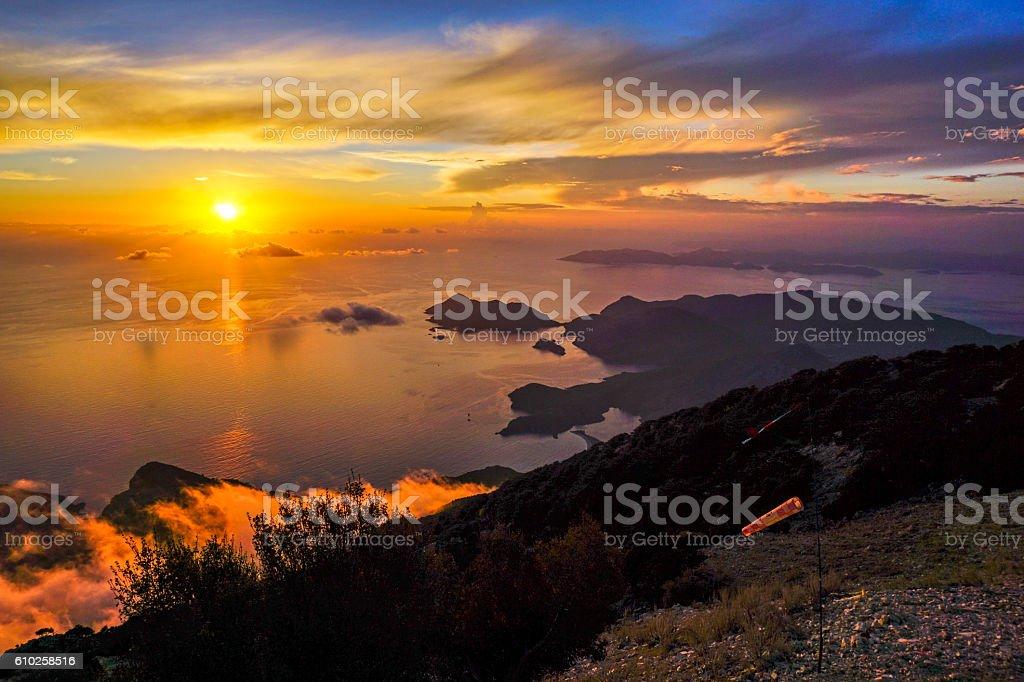 Sunset Babadag stock photo