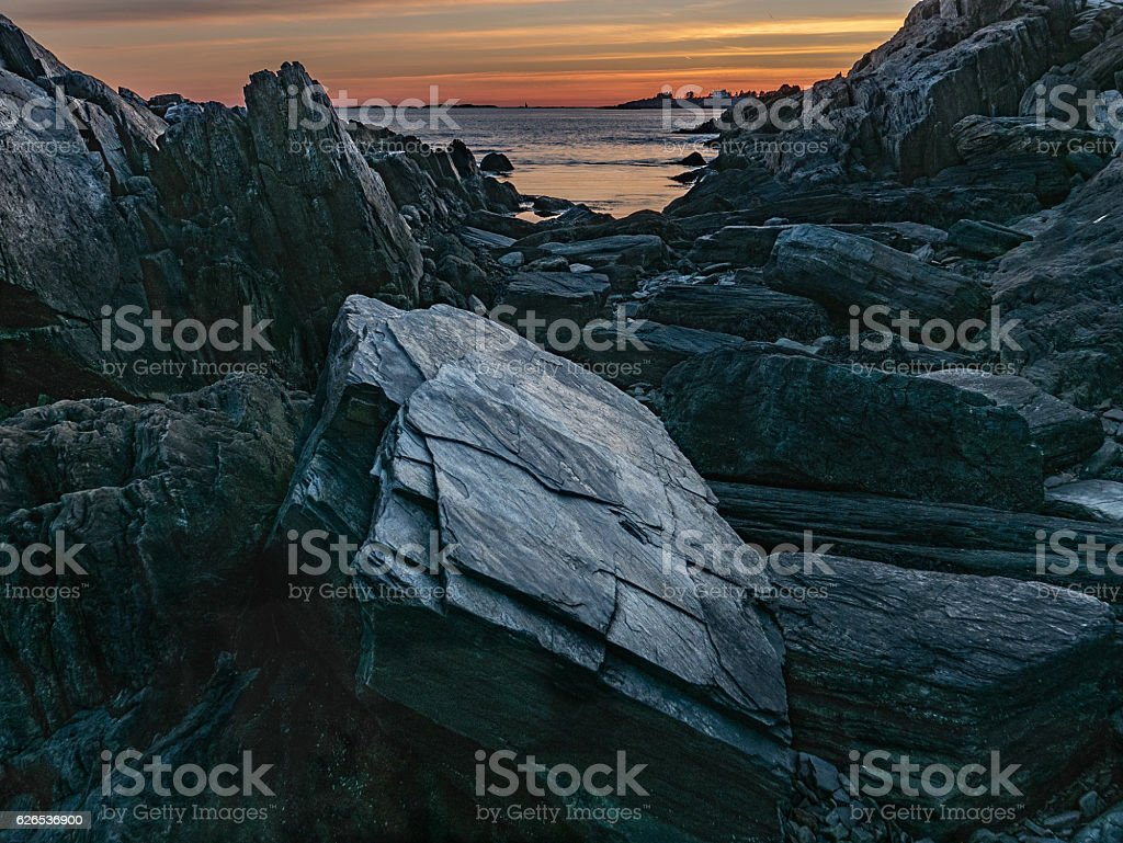 Sunset, Bailey Island, Maine stock photo
