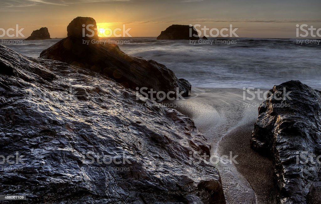 Sunset Bandon Oregon stock photo