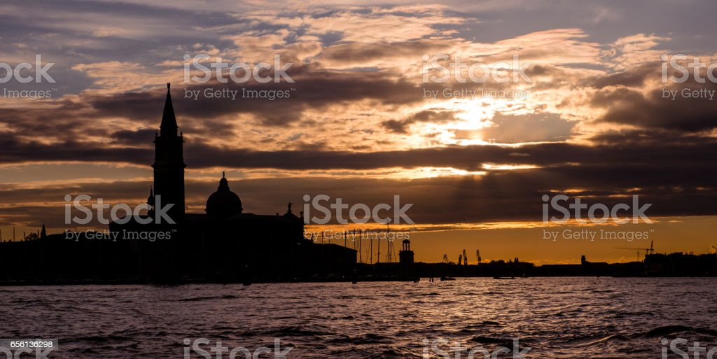 Sunset. Basin of San Marco in Venice, Italy stock photo