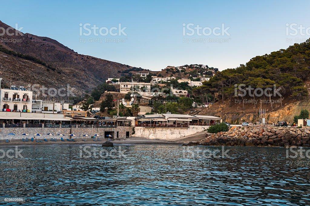 Sunset bay of Chora Sfakion town on Crete island, Greece stock photo