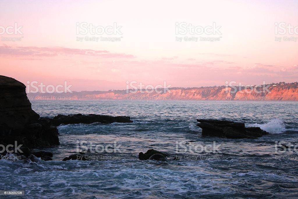 sunset bay stock photo