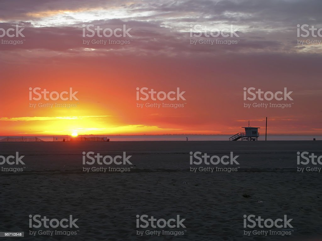 Sunset Beach and Lifeguard Tower royalty-free stock photo