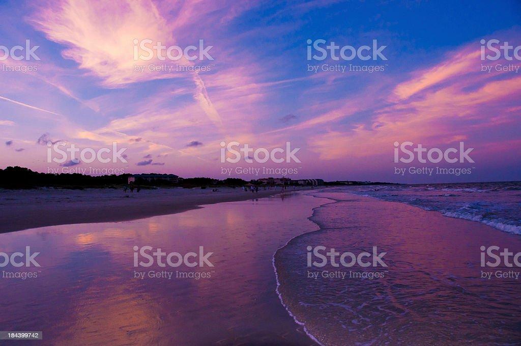 sunset beach and sky stock photo