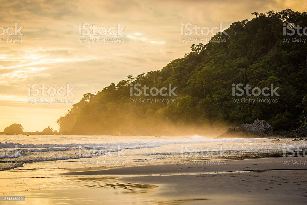 Sunset beach in  Costa Rica stock photo