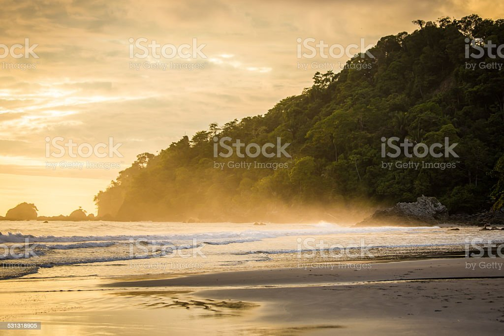 Sunset beach in  Costa Rica stock photo