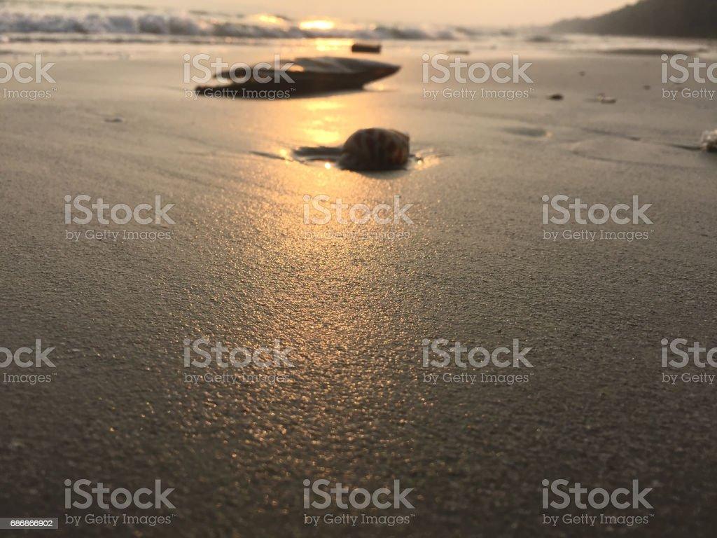 Sunset Beach in evening stock photo