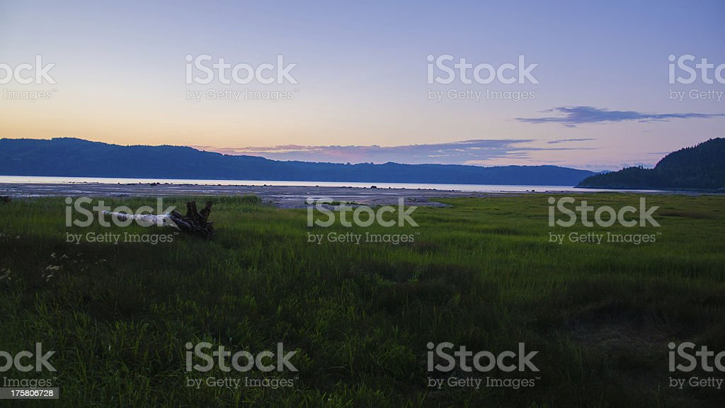 Sunset Beach, Lake, River, Fjord, Canada, Quebec, Saguenay, Coastline royalty-free stock photo