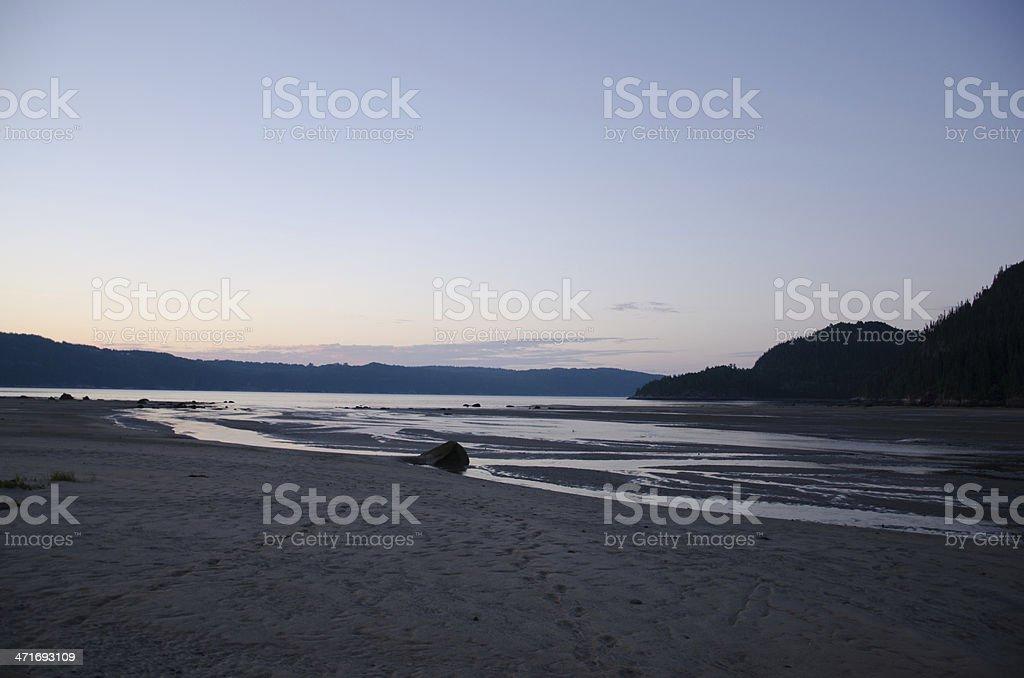 Sunset Beach, Lake, River, Fjord, Canada, Quebec, Saguenay, Coastline royalty-free stock photo