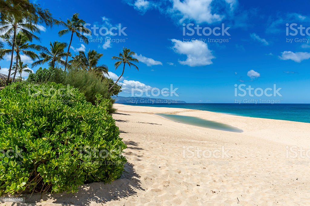 Sunset Beach on Sunny Day, North Shore, Oahu, Hawaii stock photo
