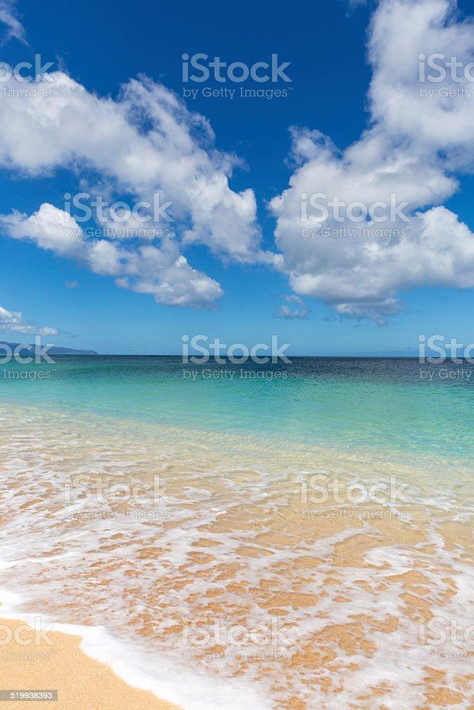 Sunset Beach on Sunny Day, North Shore, Oahu, Hawaii stock photo