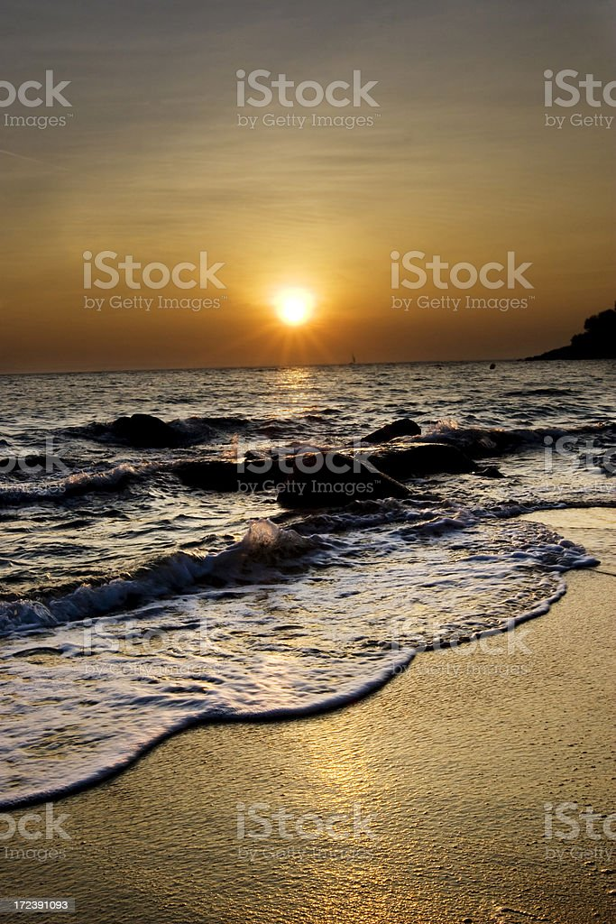 Sunset beach royalty-free stock photo