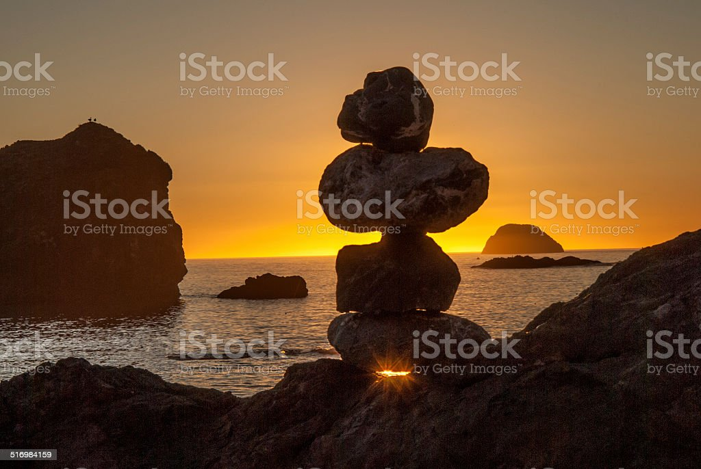 Sunset Beach Rocks stock photo