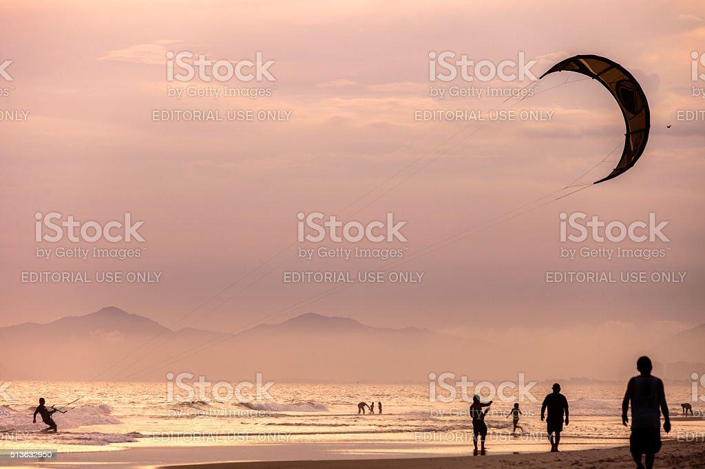 Sunset beach scene. Barra da Tijuca, Brazil. stock photo
