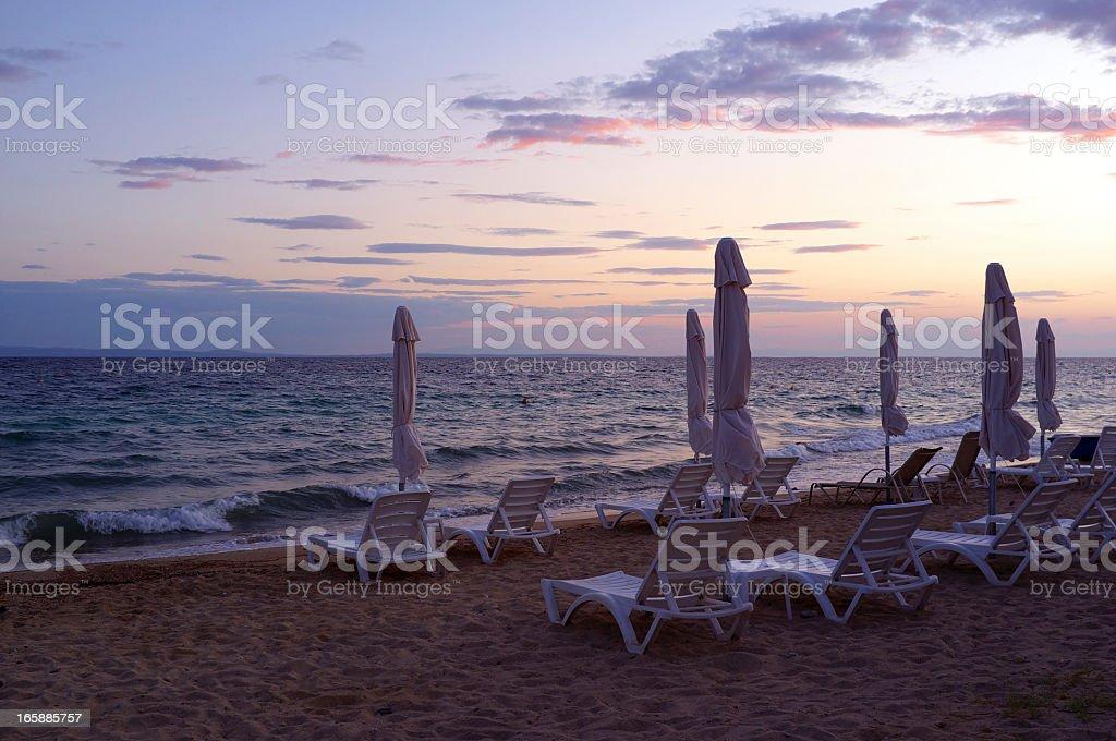 Sunset Beach Umbrellas stock photo