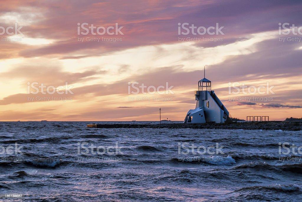 Sunset beacon. stock photo