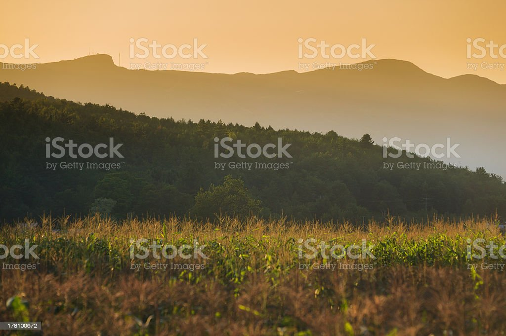 Sunset behind Mt. Mansfield in Stowe, VT, USA stock photo