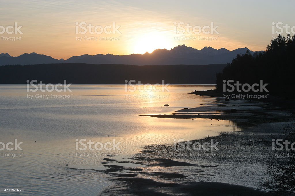Sunset Behind Olympic Mountains royalty-free stock photo