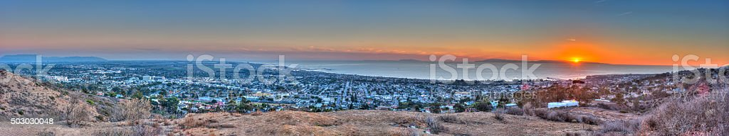 Sunset behind Santa Cruz Island stock photo