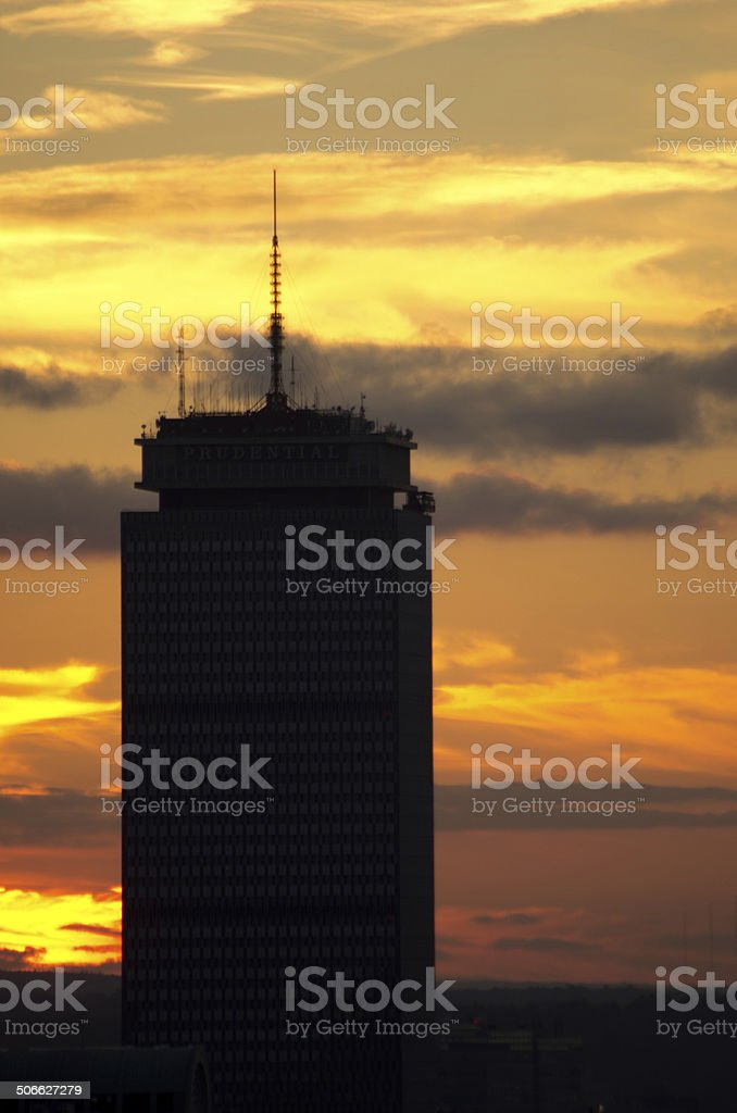 Sunset behind skyscrapers in Boston stock photo