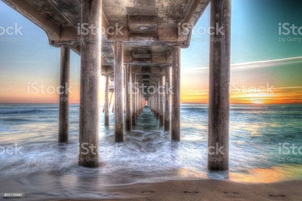 HDR Sunset behind the Huntington Beach pier stock photo