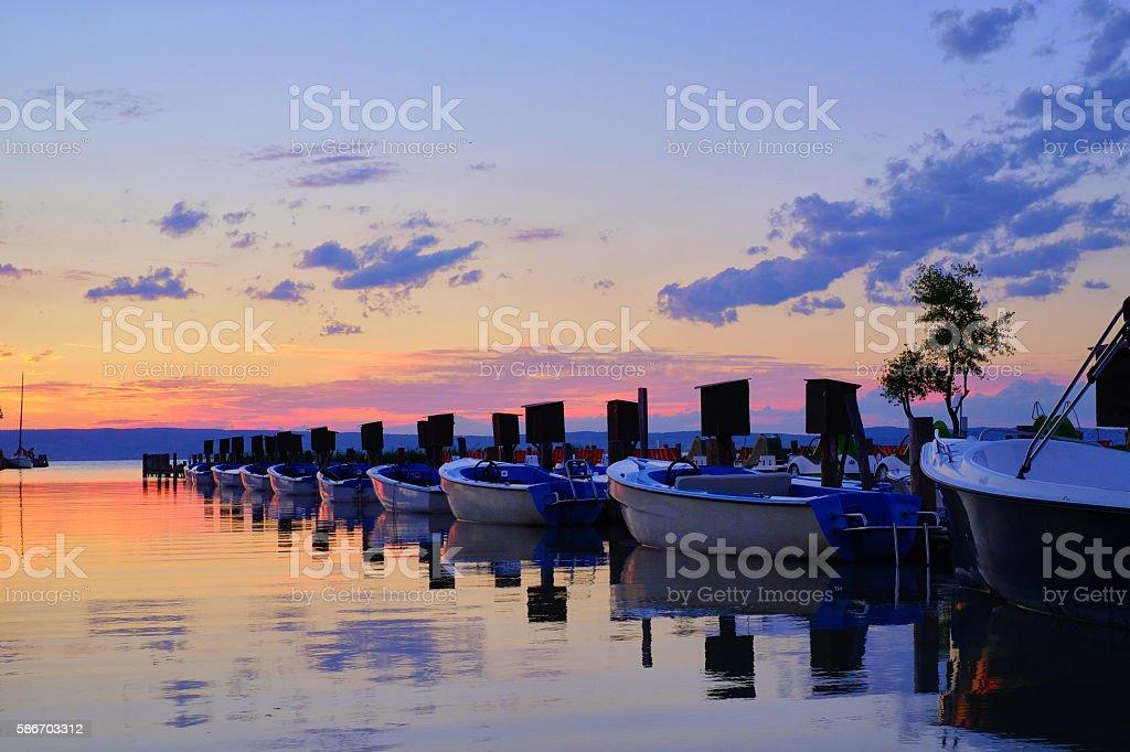 Sunset behind the Neusiedler See / Austria stock photo