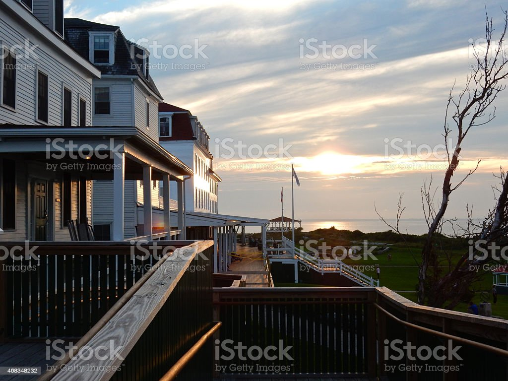 Sunset behind the Oceanic Hotel stock photo