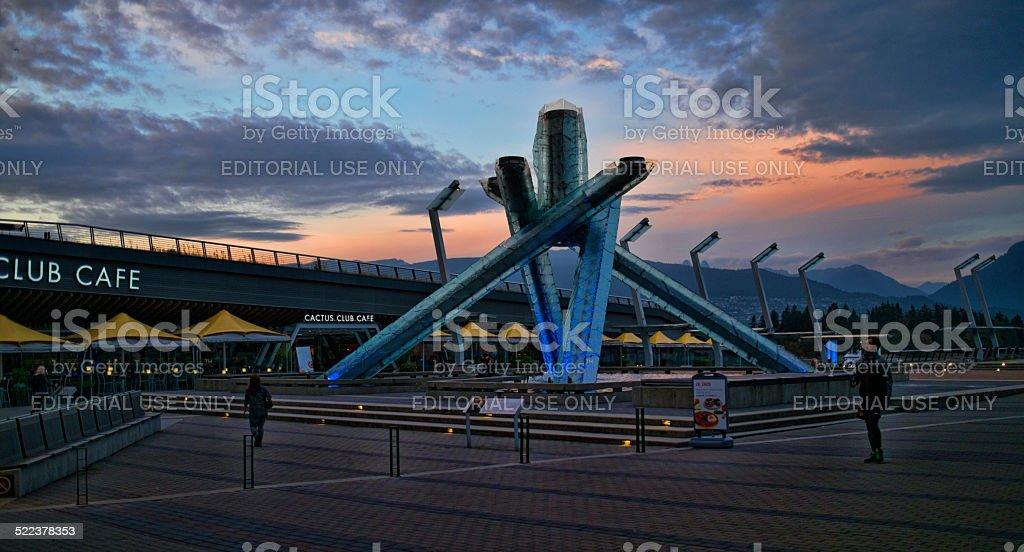 Sunset Behind the Olympic Cauldron at Jack Poole Plaza, Vancouver stock photo