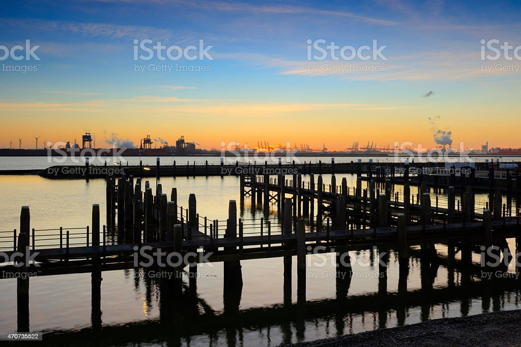 sunset behind the Veerhaven at Hoek van Holland stock photo
